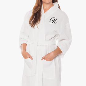 Personalized Single Initial Waffle Cotton Robe