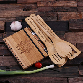Personalized Spiral Bamboo Notebook, Pen and 4 Kitchen Utensils