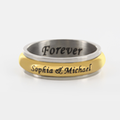 Personalized Single Stainless Steel Gold Tone Couple's Spinner Ring