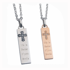 Personalized Stainless Steel Cross Bar Necklace