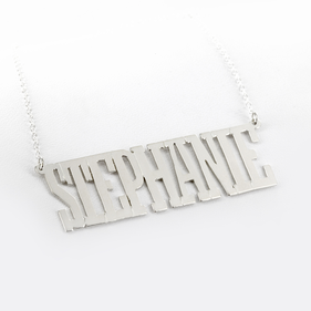 Personalized Sterling Silver Block Letter Name Necklace