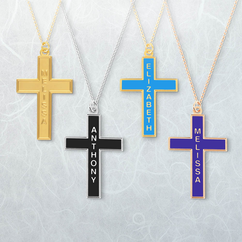 Personalized Sterling Silver Cross Pendant with Color Finish