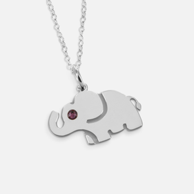 Personalized Sterling Silver Elephant Necklace with Swarovski Birthstones