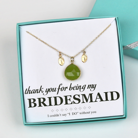 Personalized Silver Bridesmaid Gemstone Necklace Gift Boxed