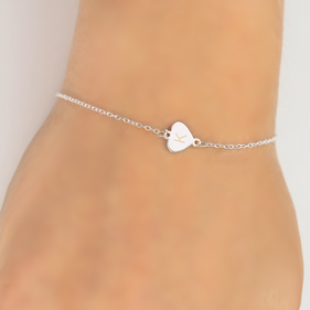 Personalized Sterling Silver Heart Initial Anklet Bracelet