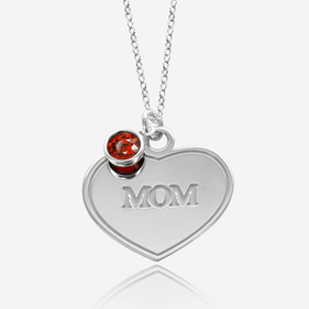 Personalized Sterling Silver Mom's Heart Necklace with Birthstone