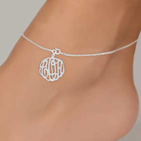 Personalized Sterling Silver Monogram Anklet