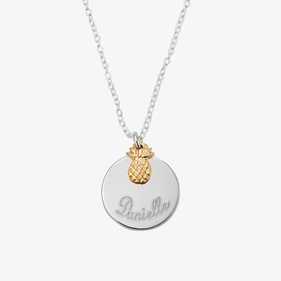 Personalized Sterling Silver Necklace with Name Disc and Pineapple