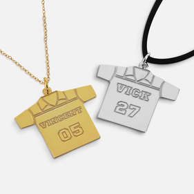 Personalized Sterling Silver Soccer Jersey Necklace