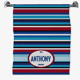 Personalized Striped Bath Sheet