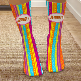 Personalized Striped Colorful Bright Tube Socks
