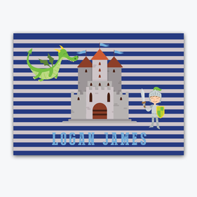 Personalized Striped Knights and Dragons Placemat