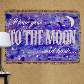 Personalized To the Moon and Back Tapestry Throw Blanket