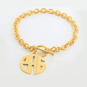 Personalized Toggle Bracelet with Block Monogram Charm