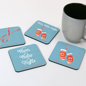 Personalized Warm Winter Nights Coaster Set of Four