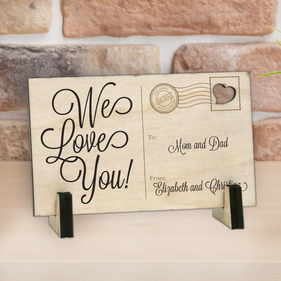 Personalized We Love You Wood Postcard
