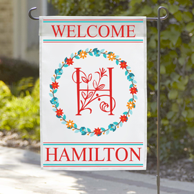 Personalized Welcome Initial Reef Garden Flag