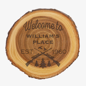 Personalized Welcome Old West Log Plaque Sign