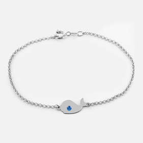 Small Whale Animal Bracelet in Sterling Silver Personalized with Swarovski Birthstones