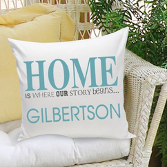 Personalized Our Story Pillow (in blue or green)