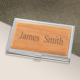 Personalized Wood Covered Card Case