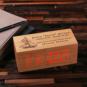 Personalized Wood Digital Clock