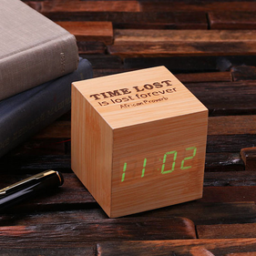 Personalized Wood Digital Clock - Cube