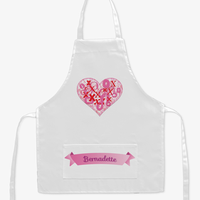 Personalized XoXo Heart Kids Craft Apron
