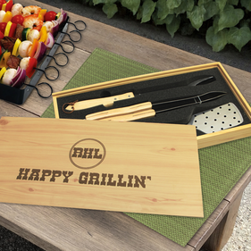 Personalized 3 Piece BBQ Set in Wooden Pine Box