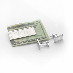 Personalzied Money Clip and Silver Cufflinks in Black Gift Box