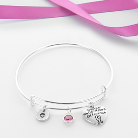 Pink Ribbon Personalized Bangle