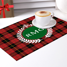 Plaid Custom Initial Placemat