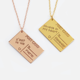 Postcard Name Necklace in Sterling Silver
