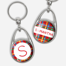 Pressed Key Chain Personalized With Name and Initial