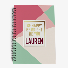 Personalized Be Happy Be Bright Be You Spiral Notebook