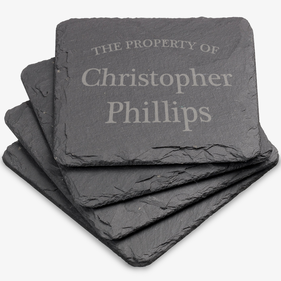 Property Of Personalized Square Slate Coasters