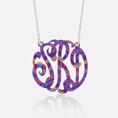 Purple with Mixed Colored Monogram in Sterling Silver