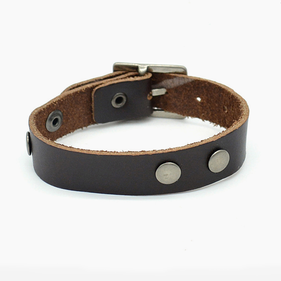Retro Rivet Watch Clasp Genuine Leather Bracelet