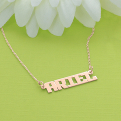 Rose Gold over Silver Block Letter Name Necklace
