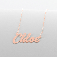 Rose Gold over Silver Script Name Necklace