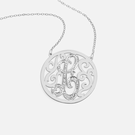 Round Single Initial Designer Necklace with stones