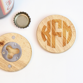 Round Wooden Customized Magnetic Bottle Opener
