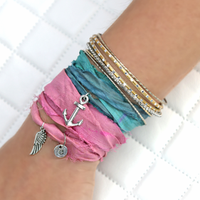 Sari Silk Multi Wrap Ribbon Custom Charm Bracelet
