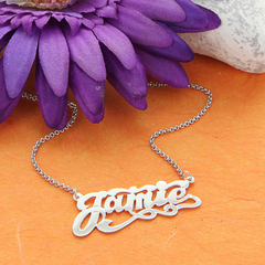Personalized Silver Scrypt Name Necklace with Tails