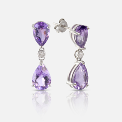 Semi Precious Stone Earrings with Diamond