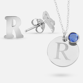 Set of Earrings and Necklace personalized with Initial