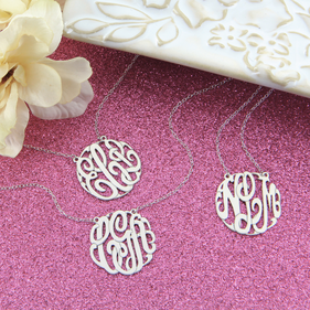 Sets of Personalized Sterling Silver Classic Monogram Necklaces
