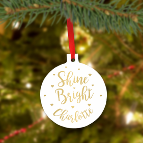 Shine Bright Personalized Christmas Tree Ornament