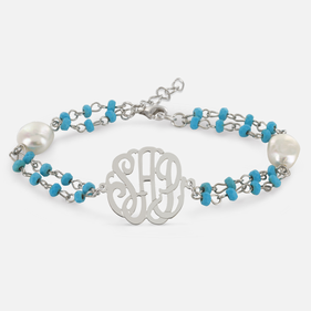 Silver Monogram Bracelet with Large Pearls and Gem Stones