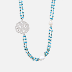 Sideways Monogarm Necklace with Large Pearls and Gem Stones